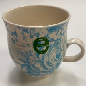 ANTHROPOLOGIE Homegrown Initial E Monogram mug